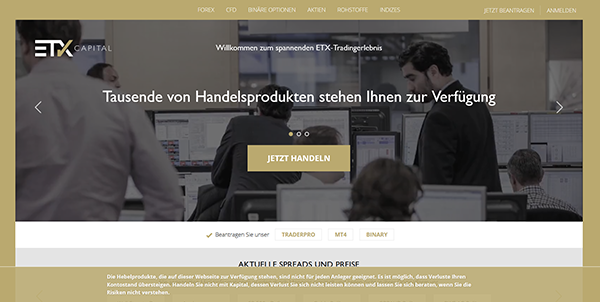 ETX Capital Startseite