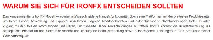 IronFX Vorteile