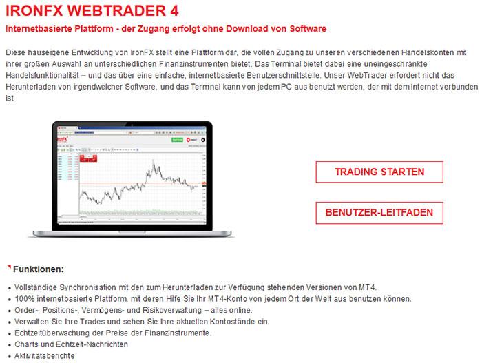 IronFX Webtrader
